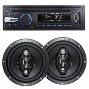Cd Mp3 Player Automotivo Importway KV-9101 Usb Aux + Par Alto Falante 6,5 Pol 120W Rms Quadriaxial