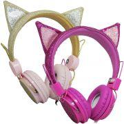 Fone Ouvido Headphone Com Fio Estéreo Orelha Gato Gatinho com Glitter Infantil P2 ZAT-251