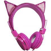 Fone Ouvido Headphone Com Fio Estéreo Orelha Gato Gatinho com Glitter Infantil P2 ZAT-251 Rosa