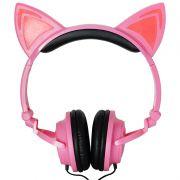 Fone Ouvido Headphone Com Fio Estéreo Orelha Gato Gatinho Led Infantil P2 Exbom HF-C22 Rosa