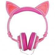 Fone Ouvido Headphone Com Fio Estéreo Orelha Gato Gatinho Led Infantil P2 Exbom HF-C22 Rosa Branco
