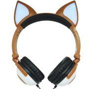 Fone Ouvido Headphone Com Fio Estéreo Orelha Gato Gatinho Led Infantil P2 Exbom HF-C30 Marrom