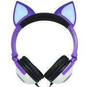 Fone Ouvido Headphone Com Fio Estéreo Orelha Gato Gatinho Led Infantil P2 Exbom HF-C30 Roxo