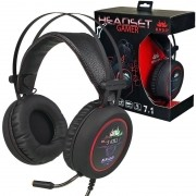 Headset Gamer 7.1 Deep Bass Fone Ouvido Microfone Usb P2 Led Pc Ps4 Celular Jogos Knup KP-401 Preto