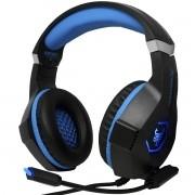 Headset Gamer Fone Ouvido Microfone Bass Led Pc Celular Jogos Infokit GH-X1000 XSoldado Azul
