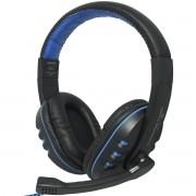 Headset Headphone Gamer Fone Ouvido P2 Super Bass com Microfone Pc Jogo Preto Azul Exbom HF-G230