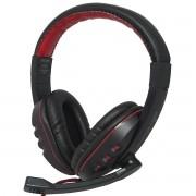 Headset Headphone Gamer Fone Ouvido P2 Super Bass com Microfone Pc Jogo Preto Vermelho Exbom HF-G230