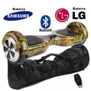 Hoverboard Scooter 2 Rodas Elétrico Bluetooth Camuflado 6,5 Polegadas Bateria LG ou Samsung com Bolsa