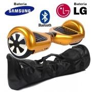 Hoverboard Scooter 2 Rodas Elétrico Bluetooth Dourado 6,5 Polegadas Bateria LG ou Samsung com Bolsa