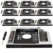 Kit 10 Adaptador Caddy Drive Dvd 9.5mm para HD Sata e SSD 2,5´´ Notebook Case Gaveta Exbom HDCA-S095