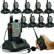 Kit 10 Rádios Comunicador HT Profissional Dual Band UHF VHF FM Baofeng UV-5RE Preto + Fone de Ouvido