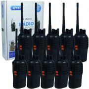Kit 10 Rádios Comunicador HT Walk Talk UHF 16 Canais Profissional Knup KP-M0008 Preto Bivolt