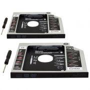 Kit 2 Adaptador Caddy Drive Dvd 9.5mm para HD Sata e SSD 2,5´´ Notebook Case Gaveta Exbom HDCA-S095