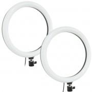 Kit 2 Iluminador Led Ring Light Profissional Circular 30cm Maquiagem Foto Filmagem Exbom ILUM-R12W16
