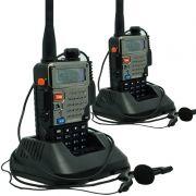 Kit 2 Rádios Comunicador HT Profissional Dual Band UHF VHF FM Baofeng UV-5RE Preto + Fone de Ouvido