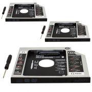 Kit 3 Adaptador Caddy Drive Dvd 9.5mm para HD Sata e SSD 2,5´´ Notebook Case Gaveta Exbom HDCA-S095