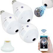Kit 3 Lâmpadas Câmera Espiã 360° Panorâmica Wifi Ip Led Bivolt 2904 Microfone Alto Falante Embutido