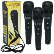 Kit 3 Microfones Dinâmico com Fio P10 1,5 Metros para Karaokê e Caixa de Som Infokit MIC-PF10 Preto