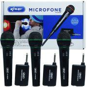 Kit 3 Microfones sem Fio Profissional Wireless P10 para Karaokê e Caixa de Som Knup KP-M0005 Preto