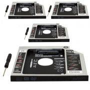 Kit 4 Adaptador Caddy Drive Dvd 9.5mm para HD Sata e SSD 2,5´´ Notebook Case Gaveta Exbom HDCA-S095