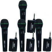 Kit 4 Microfones sem Fio Profissional Wireless P10 para Karaokê e Caixa de Som Knup KP-M0005 Preto