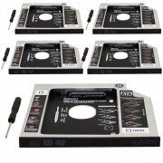 Kit 5 Adaptador Caddy Drive Dvd 9.5mm para HD Sata e SSD 2,5´´ Notebook Case Gaveta Exbom HDCA-S095