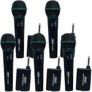 Kit 5 Microfones sem Fio Profissional Wireless P10 para Karaokê e Caixa de Som Knup KP-M0005 Preto