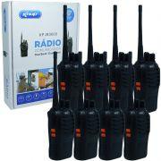 Kit 8 Rádios Comunicador HT Walk Talk UHF 16 Canais Profissional Knup KP-M0008 Preto Bivolt