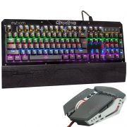Kit Teclado Mecânico + Mouse 2400 Dpi Gamer Profissional Usb Abnt2 Led Metal BKGX1 GM705 Preto/Cinza