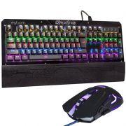 Kit Teclado Mecânico + Mouse 3200 Dpi Gamer Profissional Usb Abnt2 Led Rgb Metal BKGX1 GM720 Preto