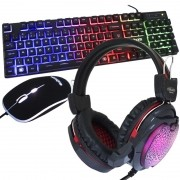 Kit Teclado Mouse Headset Gamer Computador Usb Abnt2 Iluminado Led Rgb BK-G550 GH-X10 Preto/Vermelho