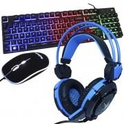 Kit Teclado Mouse Headset Gamer Computador Usb Abnt2 Iluminado Led Rgb BK-G550 GH-X30 Preto/Azul