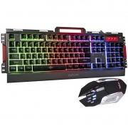 Kit Teclado Semi Mecânico Mouse Gamer Usb Abnt2 Iluminado Led Rgb Metal Exbom BK-G3000 Grafite