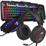 Kit Teclado Semi Mecânico Mouse Headset 7.1 Gamer Usb P2 Abnt2 Led BKG200 KPV19 KP401 Preto