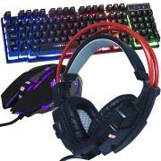 Kit Teclado Semi Mecânico Mouse Headset Gamer Usb P2 Abnt2 Led BK152C KPV19 GHX20 Preto Vermelho