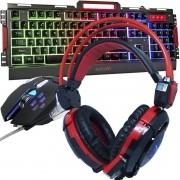 Kit Teclado Semi Mecânico Mouse Headset Gamer Usb P2 Abnt2 Led Metal BKG3000 GHX30 Grafite Vermelho