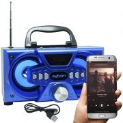 Mini Caixa Som Bluetooth Amplificada Mp3 Fm Usb Sd Azul 10w Rms Exbom CS-M227BT