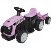Mini Carro Trator com Reboque Caçamba Elétrico 6V Infantil Criança Bateria Rosa Brinqway BW-079RS