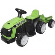 Mini Carro Trator com Reboque Caçamba Elétrico 6V Infantil Criança Bateria Verde Brinqway BW-079VD