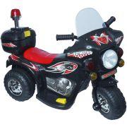 Mini Moto Elétrica Infantil Triciclo Criança Bateria 6V Importway BW002-P Preto Polícia Bivolt