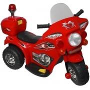 Mini Moto Elétrica Infantil Triciclo Criança Bateria 6V Importway BW002-V Vermelho Polícia Bivolt