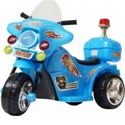 Mini Moto Elétrica Triciclo Criança Infantil Bateria 6V Importway BW006-AZ Azul Polícia Bivolt