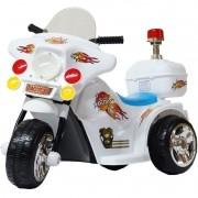 Mini Moto Elétrica Triciclo Criança Infantil Bateria 6V Importway BW006-BR Branca Polícia Bivolt