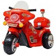 Mini Moto Elétrica Triciclo Criança Infantil Bateria 6V Importway BW006-VM Vermelha Polícia Bivolt