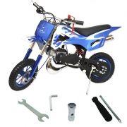 Mini Moto Infantil Gasolina 2 Tempos 49CC Cross Trilha Off Road Importway DTCR-008 Dirt Azul