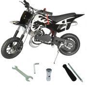 Mini Moto Infantil Gasolina 2 Tempos 49CC Cross Trilha Off Road Importway DTCR-008 Dirt Preta