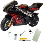 Mini Moto Infantil Gasolina 2 Tempos 49CC Speed Ninja GP Esportiva Importway WVPR-204 Preta