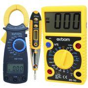 Multímetro Digital MD160 + Alicate Amperímetro MDY400 + Caneta Teste Fase Tensão Corrente CNTT-D10