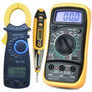 Multímetro Digital MD200L + Alicate Amperímetro MDY400 + Caneta Teste Fase Tensão Corrente CNTT-D10