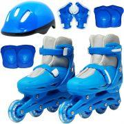 Patins Roller In Line 4 Rodas Infantil Masculino + Acessórios Azul Tamanho 37 38 39 40 Importway